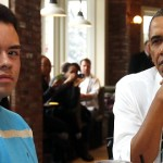 U.S. President Obama listens as Johnson, one of five supporters of Obamacare he is having lunch with, speaks at The Coupe restaurant in Washington