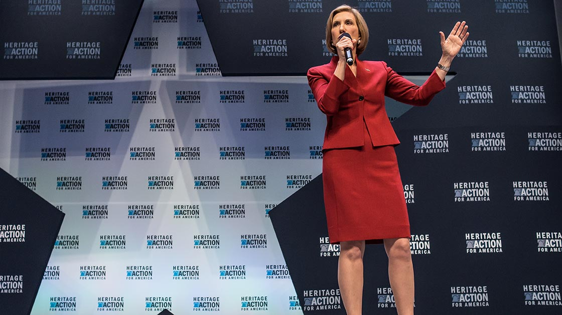 GREENVILLE, SC - SEPTEMBER 18:  Republican presidential candidate Carly Fiorina speaks to voters at the Heritage Action Presidential Candidate Forum September 18, 2015 in Greenville, South Carolina. Ten republican candidates were each given 25 minutes to talk to the crowd at the Bons Secours Wellness Arena in the upstate of South Carolina.