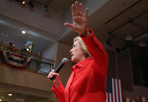 In this Oct. 16, 2015, photo, Democratic presidential candidate Hillary Rodham Clinton speaks during a town hall meeting in Keene, N.H. Clinton is taking center stage as the star witness in the Republican-led investigation into the deadly 2012 attacks in Benghazi, Libya. (AP Photo/Mary Schwalm)