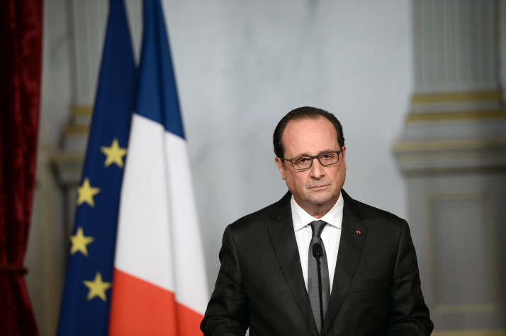 French president Francois Hollande speaks in Paris, France, 14 November 2015, following a series of coordinated attacks in and around Paris late 13 November 2015, which left more than 120 people dead. Hollande blamed the Islamic State group for the attacks in Paris that left at least 128 dead, calling them an 'act of war'.