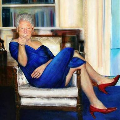 Clinton wearing Monica's blue dress in the Jeffrey Epstein Painting.